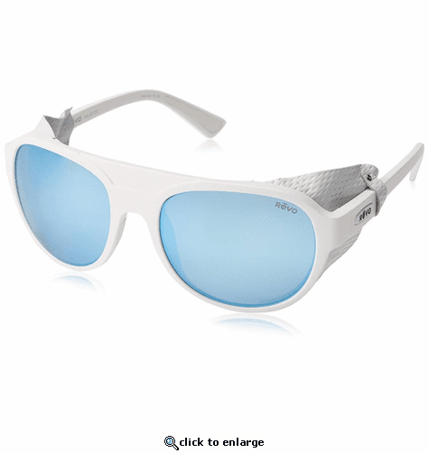 Revo Unisex Traverse Glacier Sunglasses Blue Water Lens with White Frame
