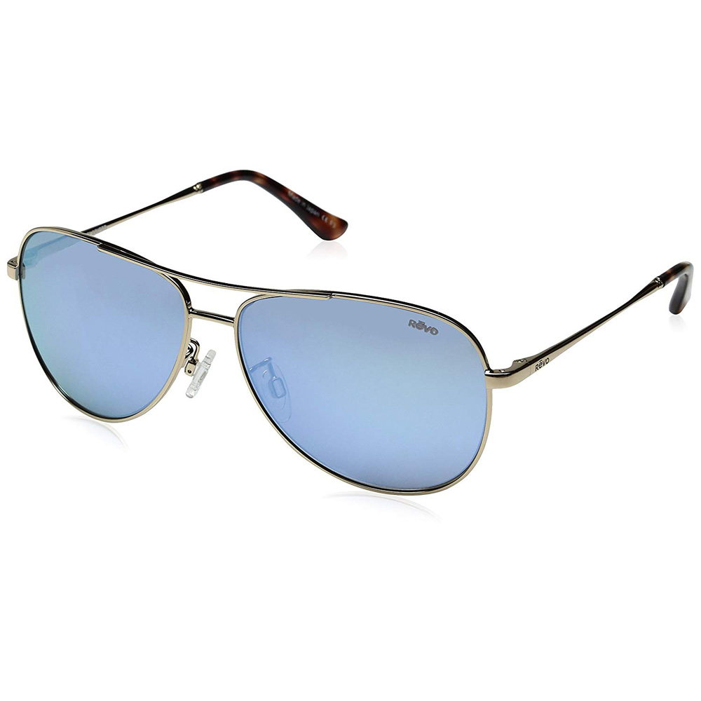 Revo Women s Relay Aviator Sunglasses Blue Water Lens with Gold Frame 6e8d829331