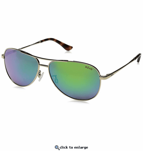Revo Women's Relay Aviator Sunglasses Green Water Lens with Gold Frame