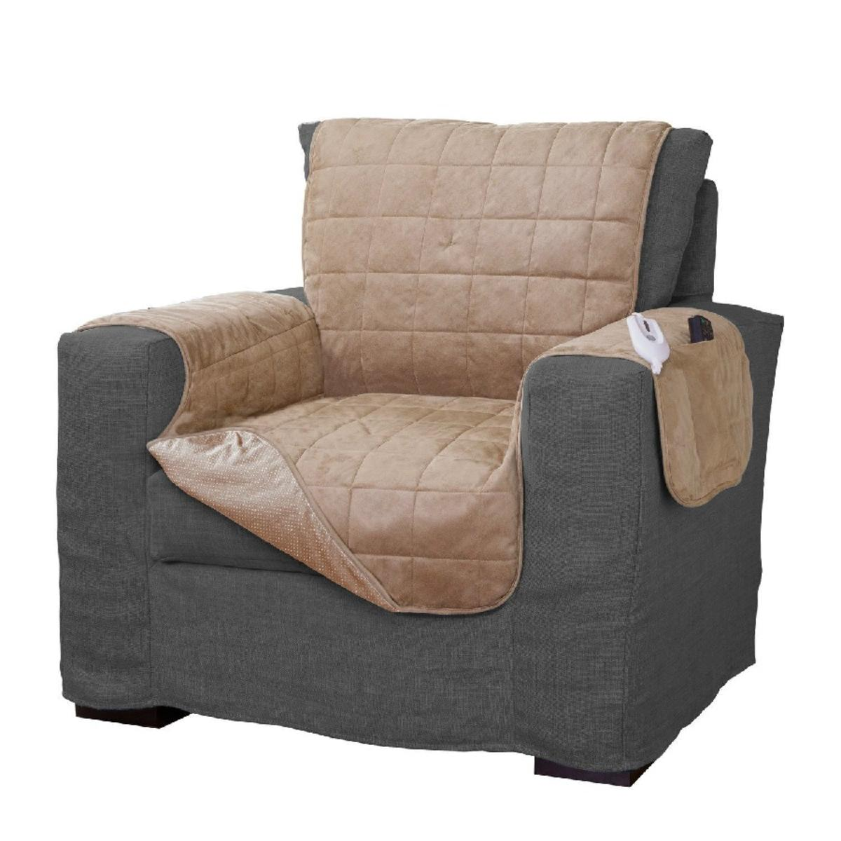 Serta Microsuede Diamond Quilted Electric Warming Furniture Chair Protector    The Warming Store