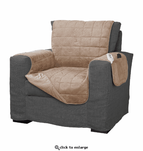 Serta Microsuede Diamond Quilted Electric Warming Furniture Chair Protector