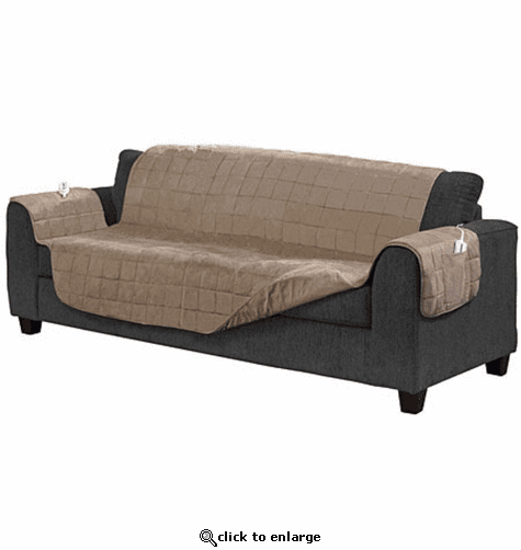 Serta Microsuede Diamond Quilted Electric Warming Furniture Sofa Protector