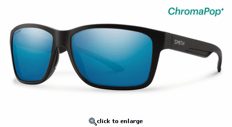 Smith Optics Lifestyle Drake Sunglasses Matte Black Chromapop+ Polarized Blue Mirror