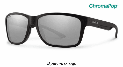 Smith Optics Lifestyle Drake Sunglasses Matte Black Chromapop+ Polarized Platinum