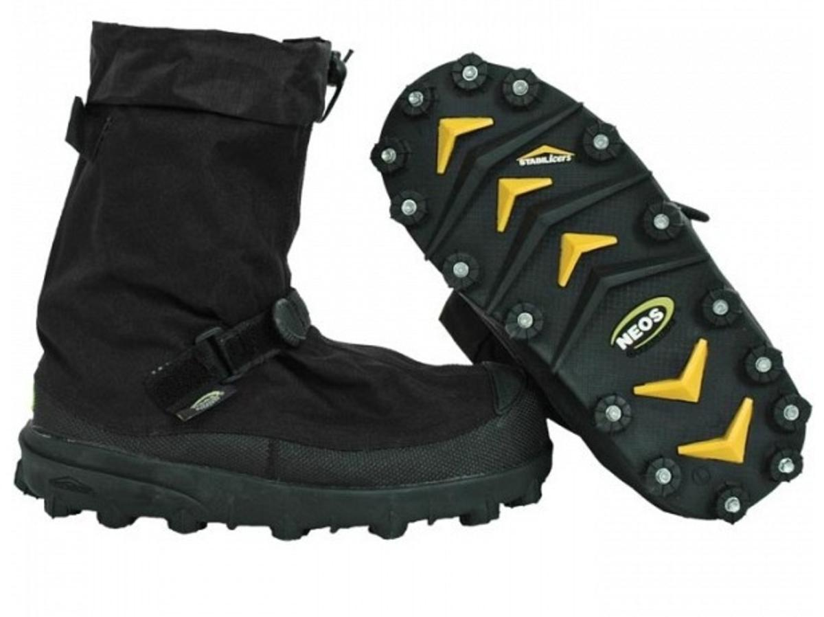The STABILicers OverShoe offers the same aggressive cleats and tread as the Original and is specially designed to provide traction while protecting your shoes or boots warm and dry. An extra large gusseted opening allows you to easily slip your shoes and boots in and out of the OverShoe. Great for those who need to get out and about in winter's messy conditions without having to swap footwear. Utilizing the STABILicers SPORT cleat receptacle, the OverShoe's cleats can be easily replaced providing you long-lasting traction on the slickest snow and ice.  100% Waterproof  Height: 11 Inches / Weight: 2.4 lbs 32 replaceable Steel Hardened Spikes Temperature comfort rated to Zero Degree F Gusseted opening for easy slip on/off over shoes and boots. Full foot slip protection with surround-sole cleats. Traction tread outsole and cleats simultaneously contact the surface, providing superior grip on ice, snow, and pavement. Longwearing, case-hardened replaceable cleats save money. Includes cleat
