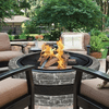 Sun Joe 35 In. Cast Stone Fire Pit w/Dome Screen and Poker, Charcoal Stone