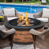 Sun Joe 35 In. Cast Stone Fire Pit w/Dome Screen and Poker, Rustic Wood