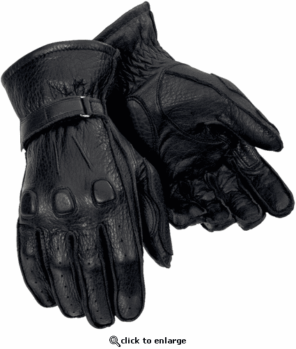 Tourmaster Deerskin Motorcycle Gloves - Black
