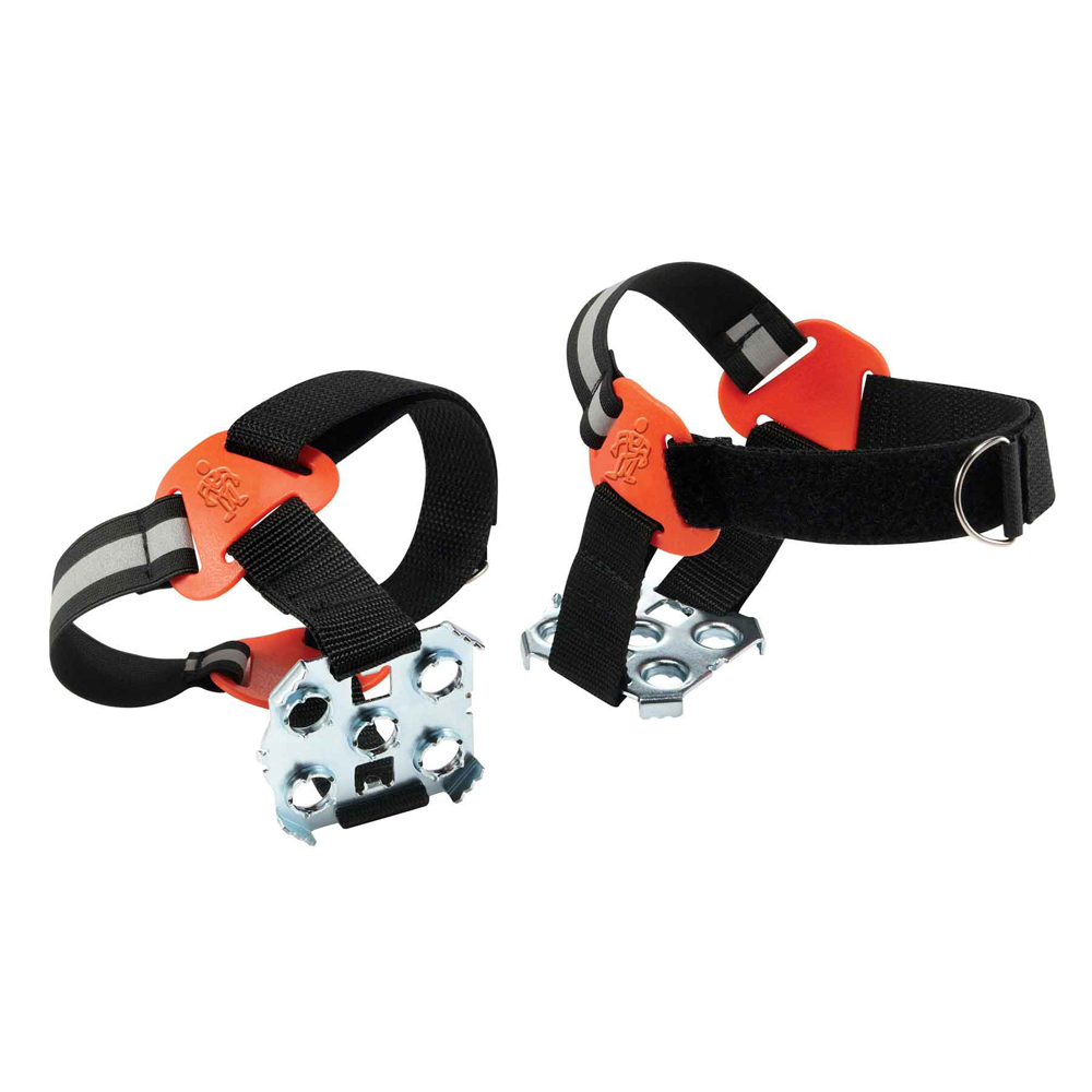 Strap-On Heel Ice Traction Device: Rugged steel plates turn boot heels into ice picks, leaving the mid-foot free for vehicle operation. Features:  Corrosion-resistant steel heel plate provides tenacious grip and stability on ice and snow Heel-only design leaves mid-foot free for unobstructed vehicle operation Channeled design will not retain ice, snow or debris Rugged webbing / hook & loop strap provides a secure fit Rear reflective accents enhance worker conspicuity  Application:  Road Construction Construction Railroad Roofers Trades Installers Contractors Delivery/Service Landscaping Utilities Logging  Performance & Tech Tags:  Abrasion Resistant Hand Washable Reflective Accents Water Repellent