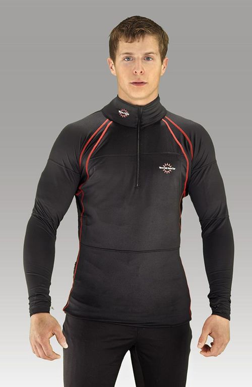 Warm & Safe Men's Black Heated Layer Long Sleeve Shirt - 7.4V Kit with Battery