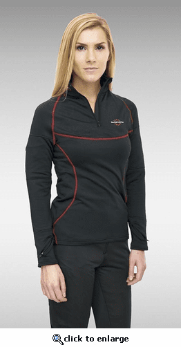 Warm & Safe Women's Black Heated Layer Long Sleeve Shirt - 7.4V Kit with Battery