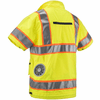 ZippKool HVN-500U 100% Polyester ANSI Class 3 High-Visibility Short Sleeve Cooling Vest Set with Rechargeable Lithium-Ion Battery