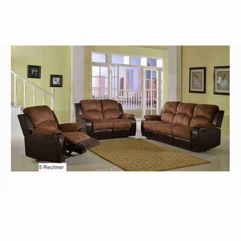 2 TONE MICROFIBER & FAUX LEATHER SOFA SET W/ 5 RECLINES
