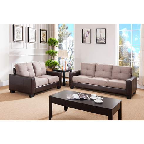 2 TONES ESPRESSO WITH LIGHT BROWN LIVING ROOM SET