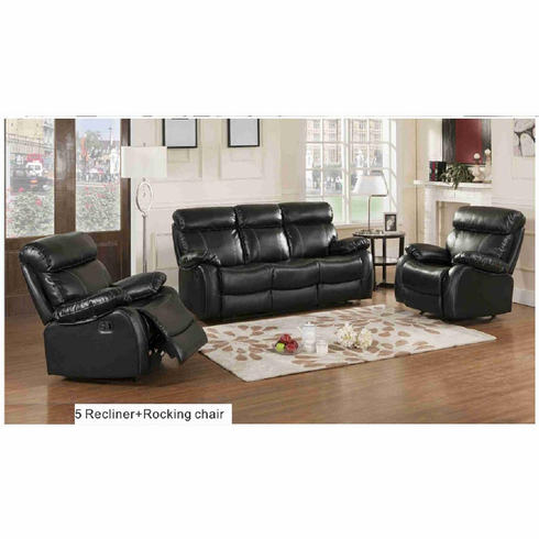 3pc Bonded Leather Sofa Set 5 Recliner and Rocking Chair
