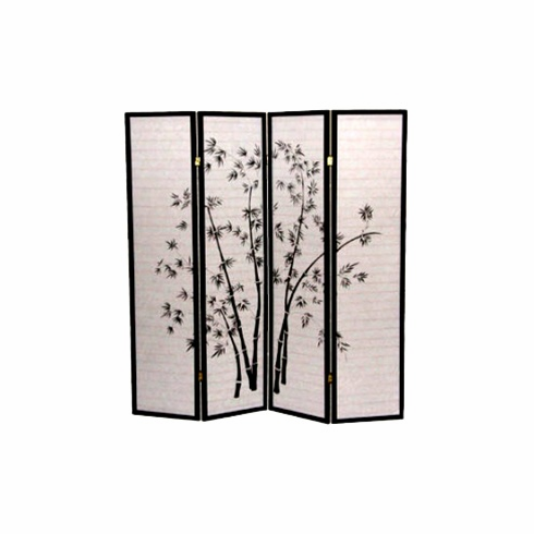 4 panel room divider with bamboo design