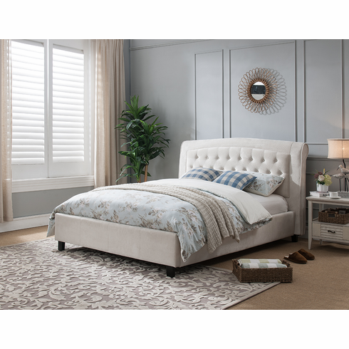 BEIGE CAL KING PLATFORM BED WITH CROCODILE PATTERN
