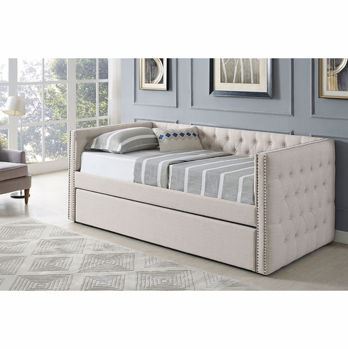 BEIGE LINEN TWIN DAYBED WITH TRUNDLE