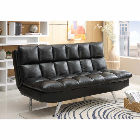 BLACK ADJUSTABLE FUTON BED IN PU