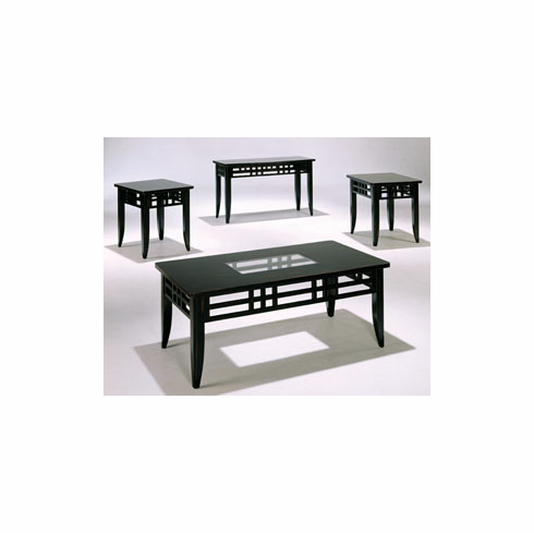 Black antique sofa table glass center