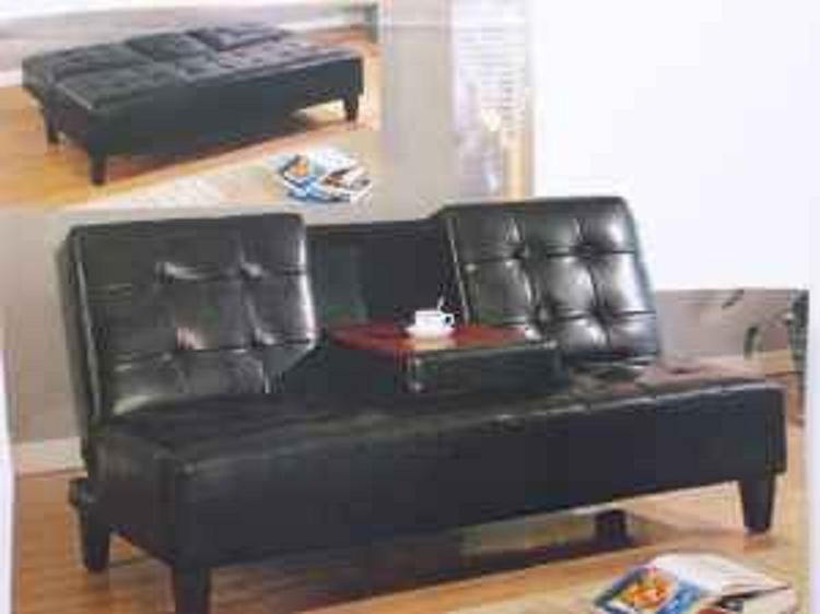 *Black Click Clack Sofa Bed With Cup Holder