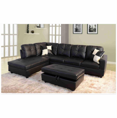 Black Faux Leather Sectional with Storage-Ottoman