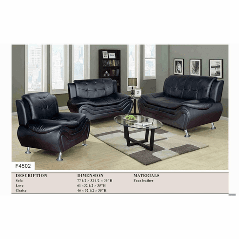 BLACK FAUX LEATHER SOFA, LOVE AND CHAIR