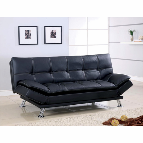 *BLACK FUTON SOFA BED WITH ADUSTABLE ARMS