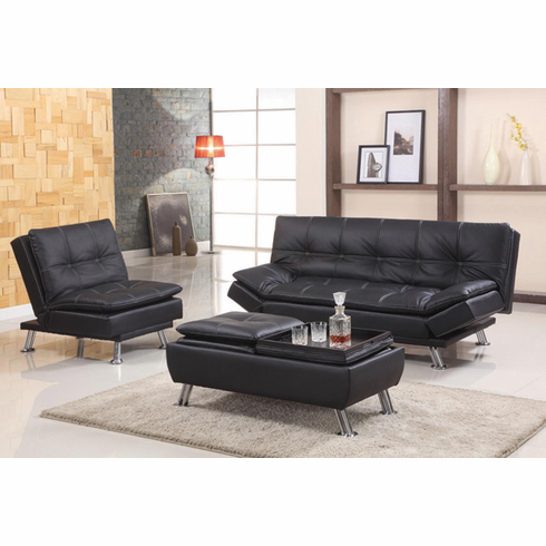 *BLACK FUTON SOFA/ CHAIR/ OTTOMAN 3PCS/SET
