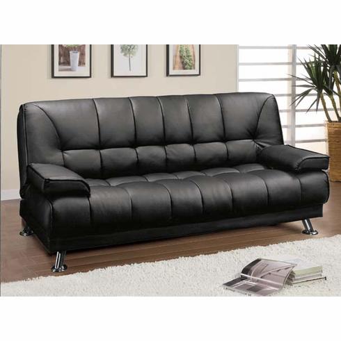 *BLACK FUTON SOFA WITH ARMS