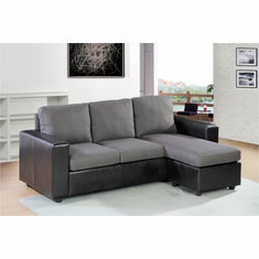 BLACK/GREY SECTIONAL SOFA 2PC/SET