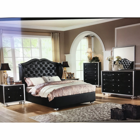 Black Half Wrapped Queen bed set_4PC/Set