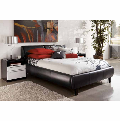 BLACK LEATHER QUEEN SIZE BED WITH STORAGE