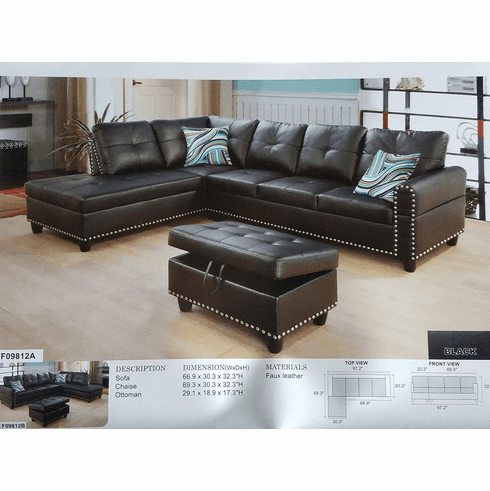 Black Leather Sectional With Nail Heads Designed Comes