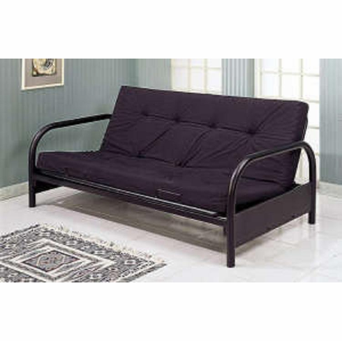 "*Black metal futon with 5"" mattress pad"