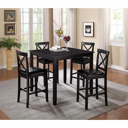 BLACK PUB TABLE WITH 4  PUD CHAIRS
