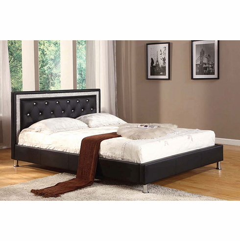 Black Queen size Platform bed with white stripe
