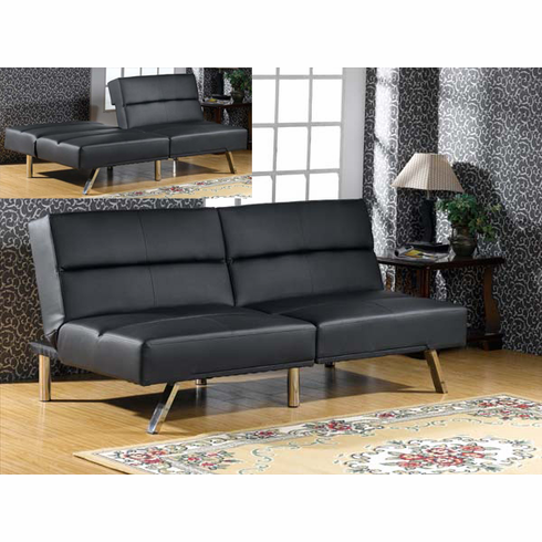 Black Vinyl Futon Sofa Bed