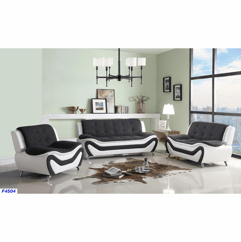 BLACK/WHITE FAUX LEATHER/ FABRIC SOFA, LOVE AND CHAIR
