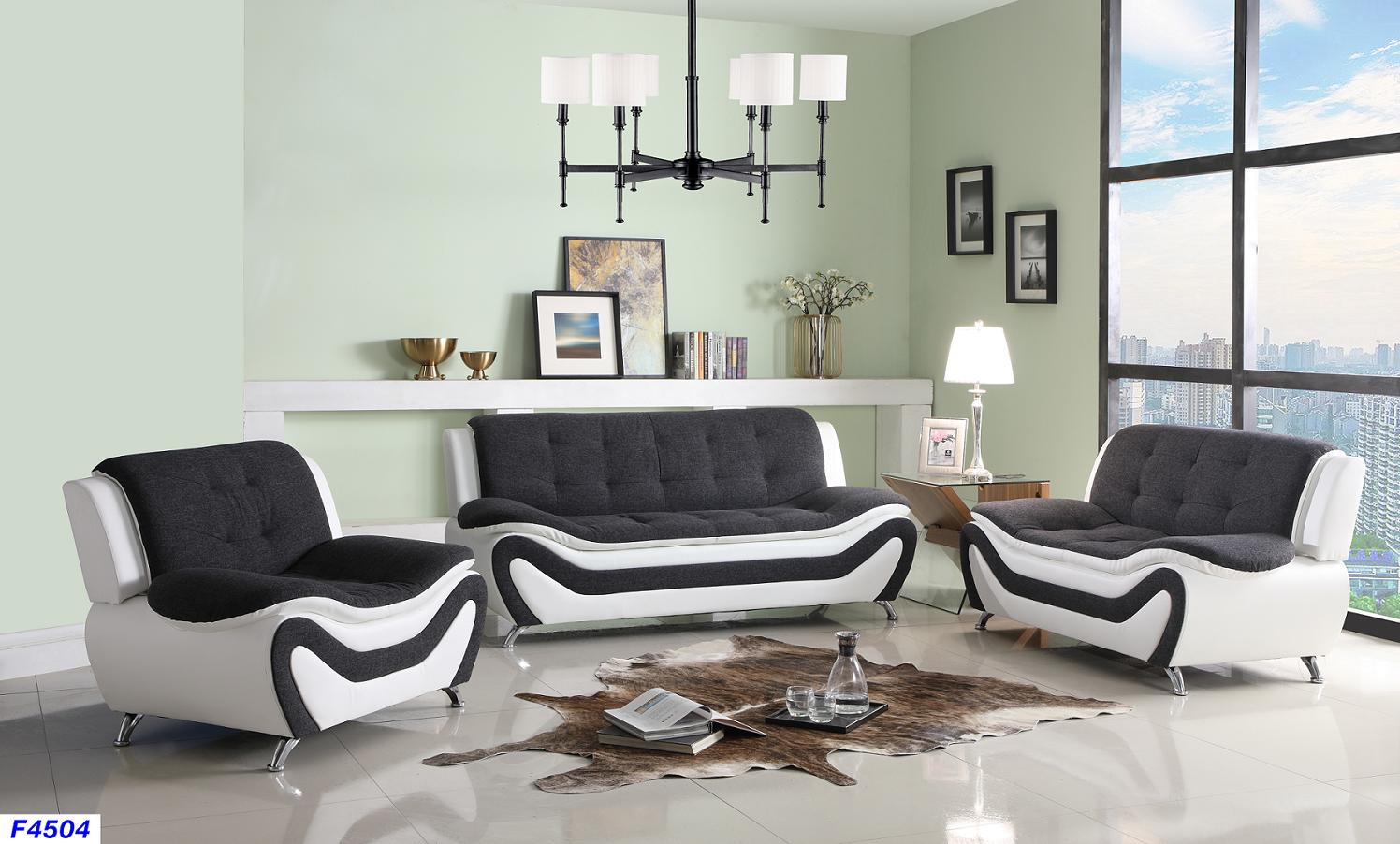 Phenomenal Black White Faux Leather Fabric Sofa Love And Chair Ocoug Best Dining Table And Chair Ideas Images Ocougorg