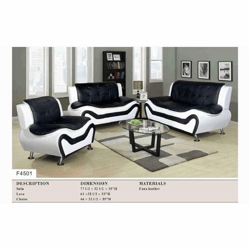 BLACK/WHITE  FAUX LEATHER  SOFA, LOVE AND CHAIR