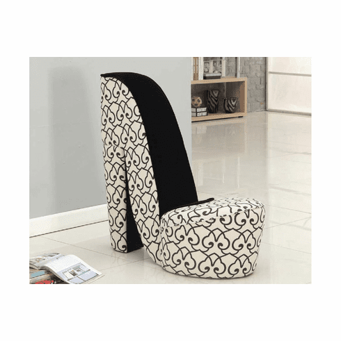 BLACK/ WHITE PATTERN SHOE CHAIR