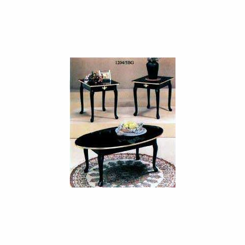 Black with golden trim coffee & end table set