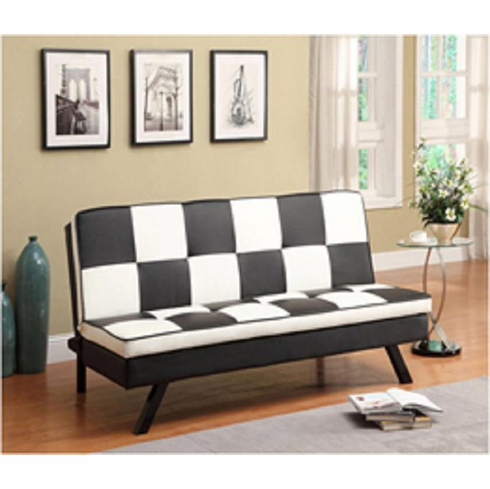 BLACL/WHITE CHECKER STYLE ADJUSTABLE FUTON SOFA BED