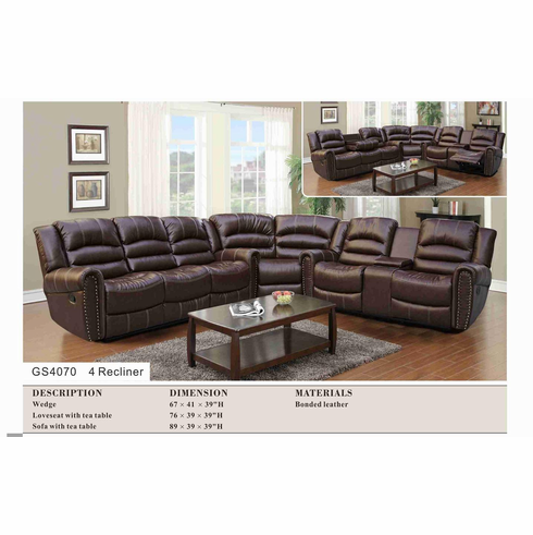 BONDED LEATHER SECTIONAL WITH 4 RECLINE