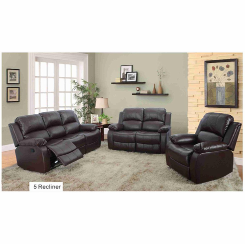 BONDED LEATHER SOFA SET WITH 5 RECLINES