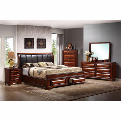 BROWN CHERRY BEDROOM INCLUDES DRESSER, MIRROR AND NIGHT STAND