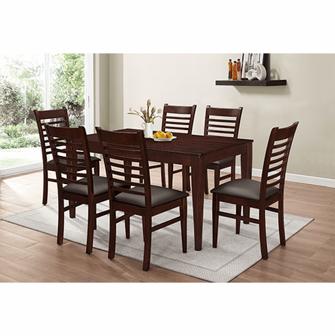 BROWN DINETTE SET WITH 6 CHAIRS