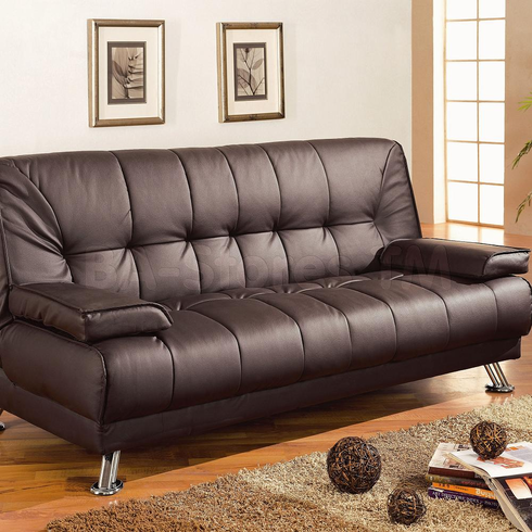 *BROWN FUTON SOFA BED WITH ARMS