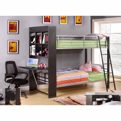 Bunk bed with shelves and desk